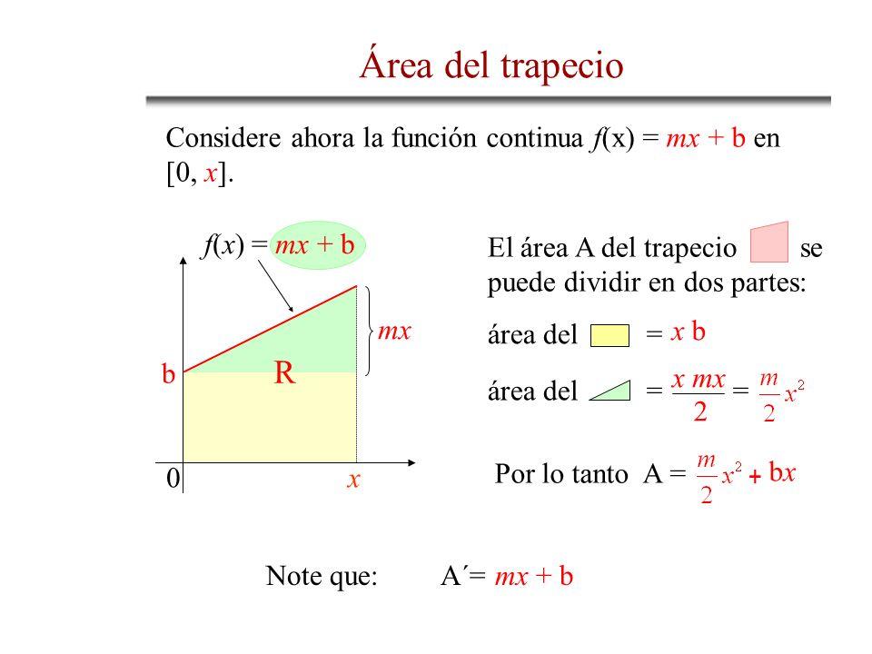 Área del trapecioConsidere ahora la función continua f(x) = mx + b en [0, x]. f(x) = mx + b. se. puede dividir en dos partes: